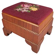 Antique American Empire Carved Mahogany and Needlepoint Footstool, 20th Century