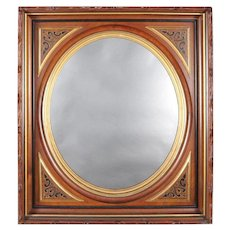 Antique Carved, Ebonized and Gilt Deep Walnut Portrait Wall Mirror, circa 1890