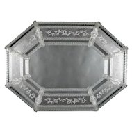 Large Italian Venetian Foliate Etched and Rope Form Parclose Wall Mirror