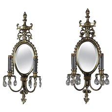 French Neoclassical Urn & Rope Twist Double Candle & Mirrored Wall Sconces, Pair