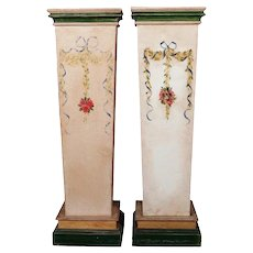 Pair of French Provincial Hand-Painted Sculpture Display Pedestals, 20th Century