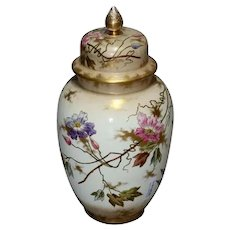 Antique German Royal Bonn Hand Painted and Gilt Floral Floor Urn, 19th Century