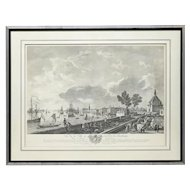 French Etching Print of City and Port of Bordeaux After J. Vernet, France