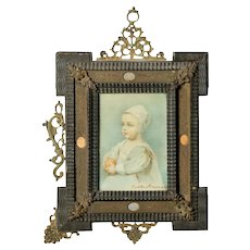 Antique French Miniature Signed Watercolor Portrait in Carved Frame 19th Century