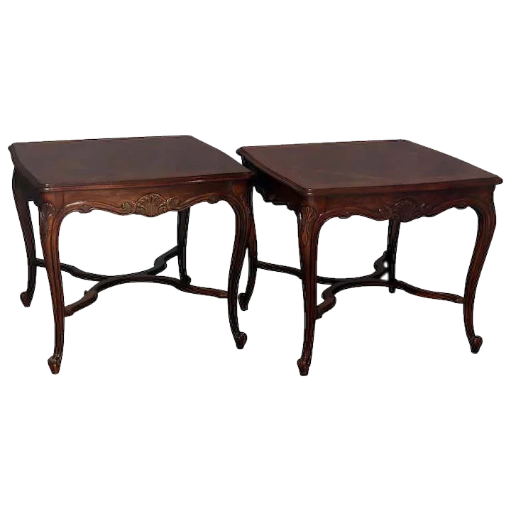 Vintage French Louis Xiv Style Drexel Heritage Inlaid Mahogany Side Tables