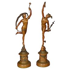 Antique Bradley & Hubbard Gilt Metal Statues of Mercury & Venus, circa 1920