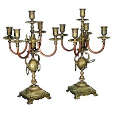 Pair of French Neoclassical Gilt Metal and Copper 5-Light Candelabra, circa 1890