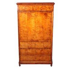 Antique English Burl Wood Biedermeier Abattant, Drop Front Secretary Desk