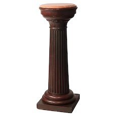 Antique Classical Doric Column Mahogany & Marble Sculpture Pedestal, c1890