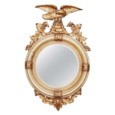 Antique Figural Giltwood Federal Style Bullseye Wall Mirror, 20th Century