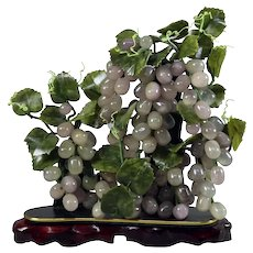 Chinese Carved Jade Sculpture on Carved Hardwood, Grapes & Vine, 20th Century