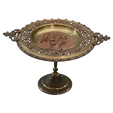Antique Victorian Reticulated and Bronzed Pedestal Card Tray, PH Hammerman