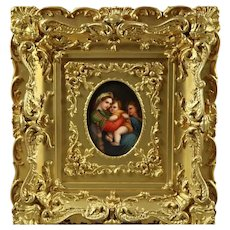 German KPM School Porcelain Plaque after Madonna Della Sedia by Raphael, c1890