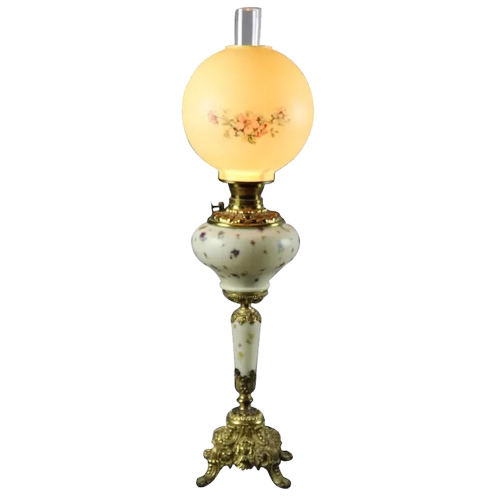 Antique Brass Floral Hand Painted Porcelain Gone With The Wind Lamp Circa 1880