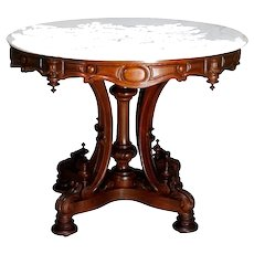 Antique Renaissance Revival Carved Walnut & Marble Center Table, circa 1880