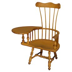 Child's Yellow Painted Writing Arm Windsor Chair, 20th Century