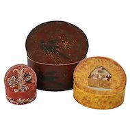 Three Folk Art Paint Decorated Graduated Oval Lesher School Shaker Boxes