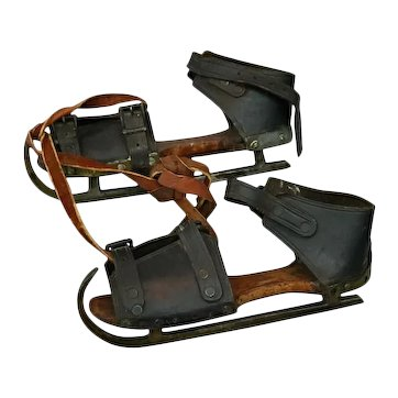 Pair of Antique Buckled Leather and Wood Ice Skates, 19th Century