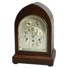 Antique German Junghans Mahogany Shelf or Mantel Clock, circa 1920