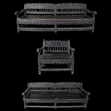 Early 18th Century Three-Piece English Baroque Carved and Ebonized Oak Sofa Set