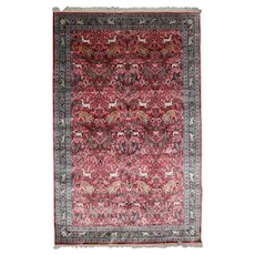 Persian Hand Knotted Silk Tabriz Animal Hunt Rug, 20th Century