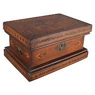 Antique English Inlaid Parquetry Petite Humidor Cigar Box, 19th Century