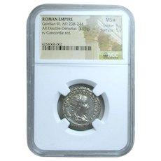 Gordian III Roman Silver Double Denarius; NGC Graded Mint State *