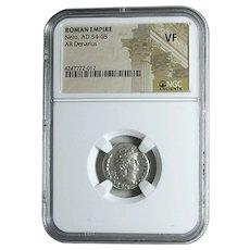 NERO; Ancient Roman Silver Denarius