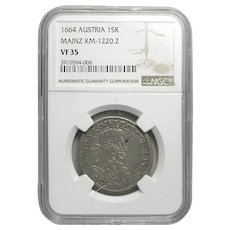 Austrian 15 Kreuzer Silver Coin ; Mainz Mint; 1664