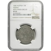 Austrian 15 Kreuzer Silver Coin; Vienna Mint;  Dated1660