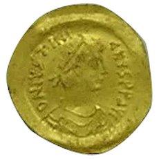 Justinian I; Byzantine Emperor; Gold Tremissis