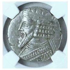 Ancient Coin of the Parthian Kingdom; Tetradrachm of Gotarzes II, 44-51AD