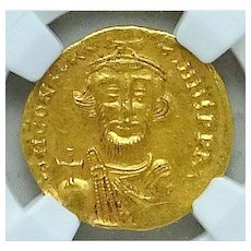 CONSTANS II; Byzantine Gold Solidus; NGC; Choice AU