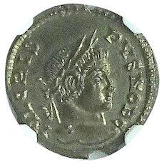 CRISPUS; Ancient Roman Bronze Coin, Lugdunum Mint; NGC Slab; Mint State