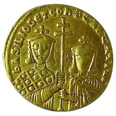 BASEL I, The Macedonian; Byzantine Gold Solidus; Christ Reverse
