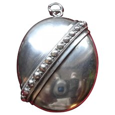 LARGE and Bold Antique Victorian/Edwardian Sterling Silver Studded Locket