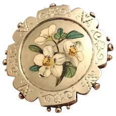 Circa 1890 Stunning Antique Victorian Sterling Hand Painted Daffodils Floral Brooch