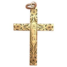 Antique Victorian Etched Gold Filled Over Silver Cross