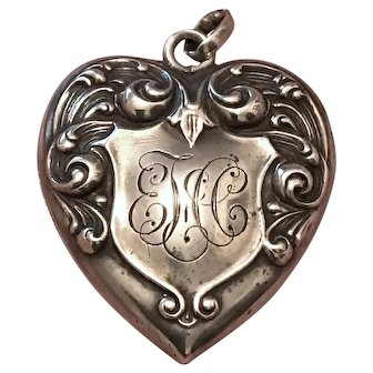 Antique Victorian W&H Co. Sterling Silver Repousse Heart Locket