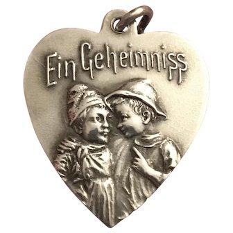 """Antique Art Nouveau German/Austrian 800 Silver """"A Secret"""" Heart Charm"""