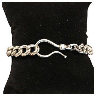 Antique Victorian Silver Repousse Curb Link Bracelet with Large Watch Hook Swivel Closure