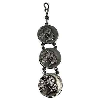 """Antique Victorian """"Silver Top"""" Bird Hunting Dogs Watch Fob Pendant with sterling Silver Swivel Dog Clip"""