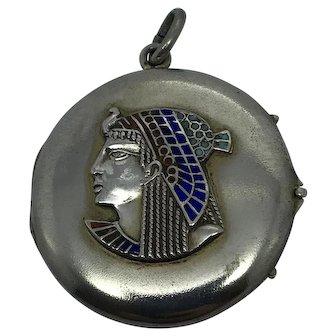 C. 1920s Antique Art Deco 800 Silver Egyptian Revival Enamel Pharoah Locket