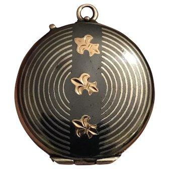 Antique Late Victorian 800 Silver & Rose Gold Niello Locket with Fleur de li