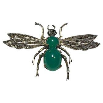 Masterpiece!  LARGE German Sterling Chrysophrase Art Deco Winged Bug Brooch