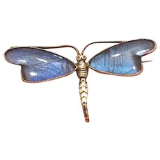 Art Deco Sterling Silver Morpho Butterfly Wing Dragonfly Brooch