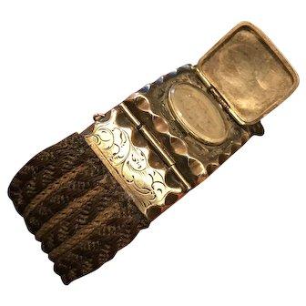 Circa 1850s Antique 10k Gold Mourning Hair Bracelet Locket With Tintype Photo