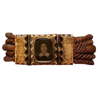 Circa 1850s Antique Momento Mori Etched 10k Gold Locket Tintype Mourning Hair Bracelet