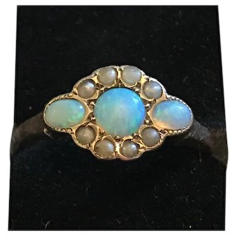 C. 1890 Antique Victorian 10K Rose Gold Opal Cabochon & Seed Pearl Ring