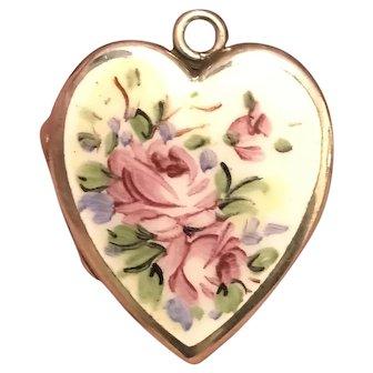 Vintage Art Deco Sterling Silver Enamel Rose Heart Locket B.B. Co.
